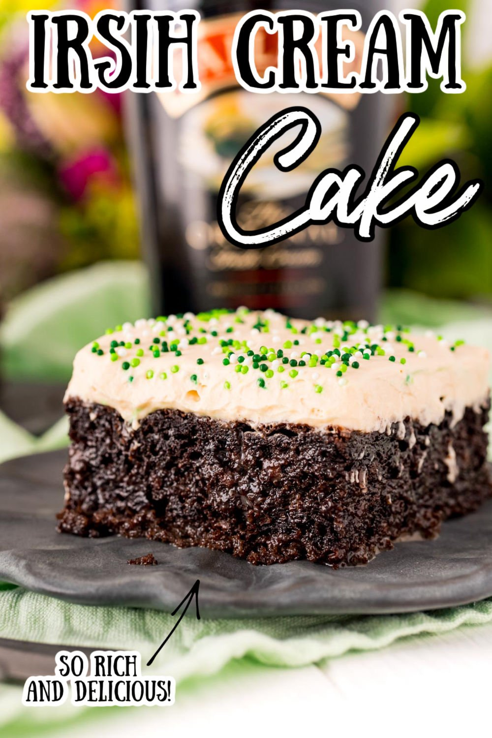 Chocolate Irish Cream Cake is made with a generous dose of Irish cream and topped with a fluffy, pudding-based frosting. This grown-up dessert is moist, rich, and oh-so-boozy! via @sugarandsoulco