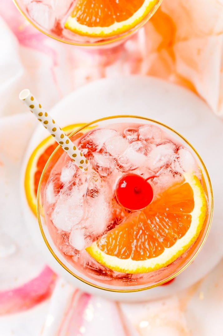 Overhead photo of a shirley temple drink.