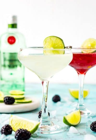 This Gimlet recipe is a classic cocktail made with gin, lime juice, simple syrup, and club soda for a light and refreshing beverage perfect for spring and summer! Swap the simple syrup out for Blackberry simple syrup for a berry twist on the classic!