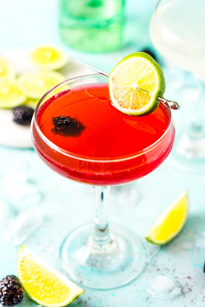 Blackberry gimlet cocktail with lime and blackberry garnish