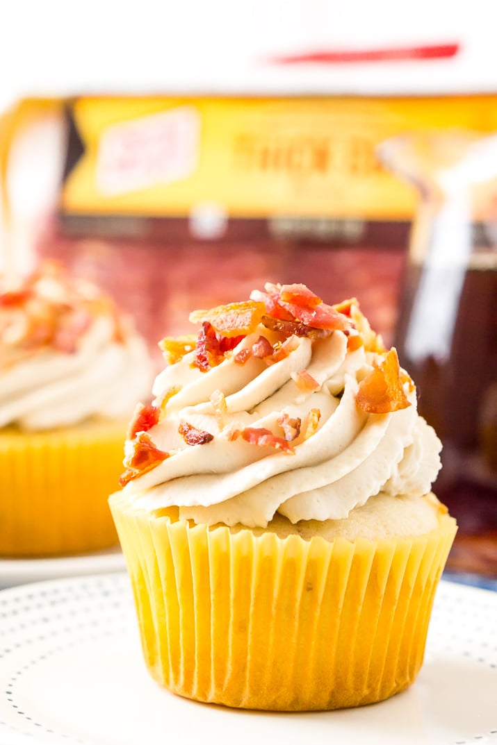 Cupcakes with maple, bacon, and coffee.