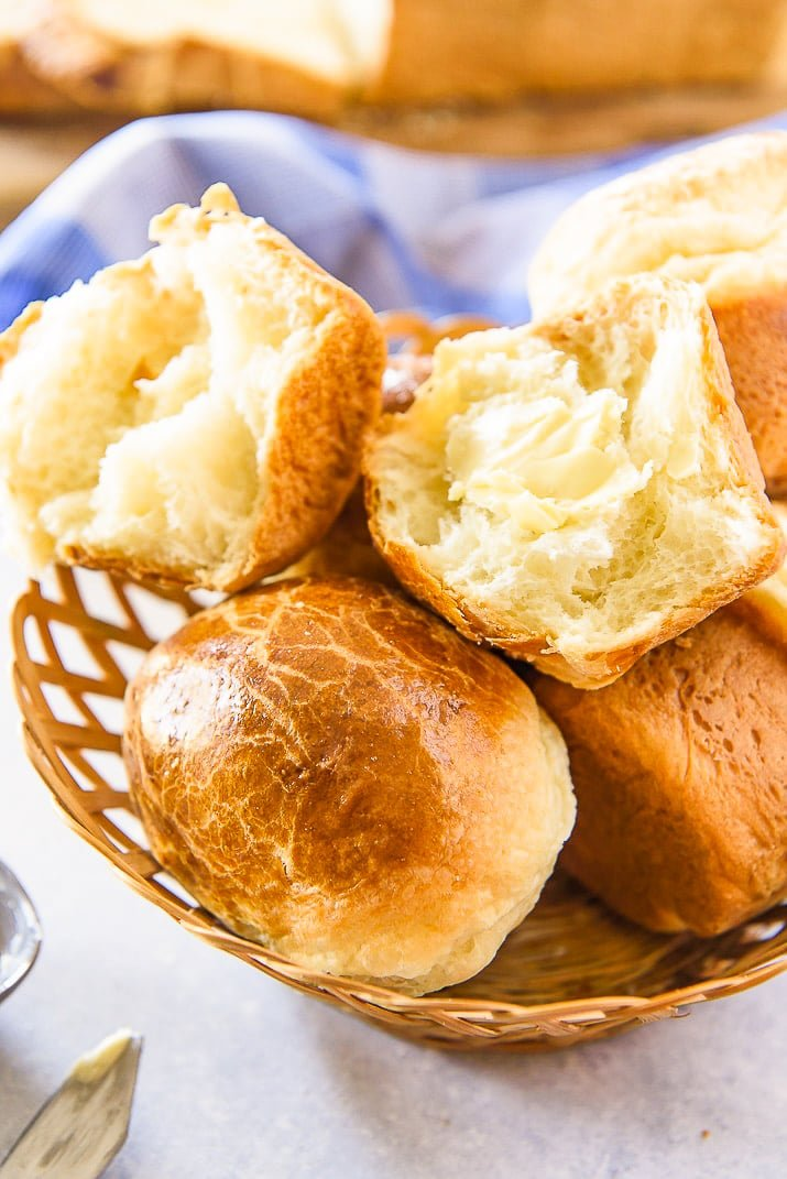 Brioche Rolls in basket
