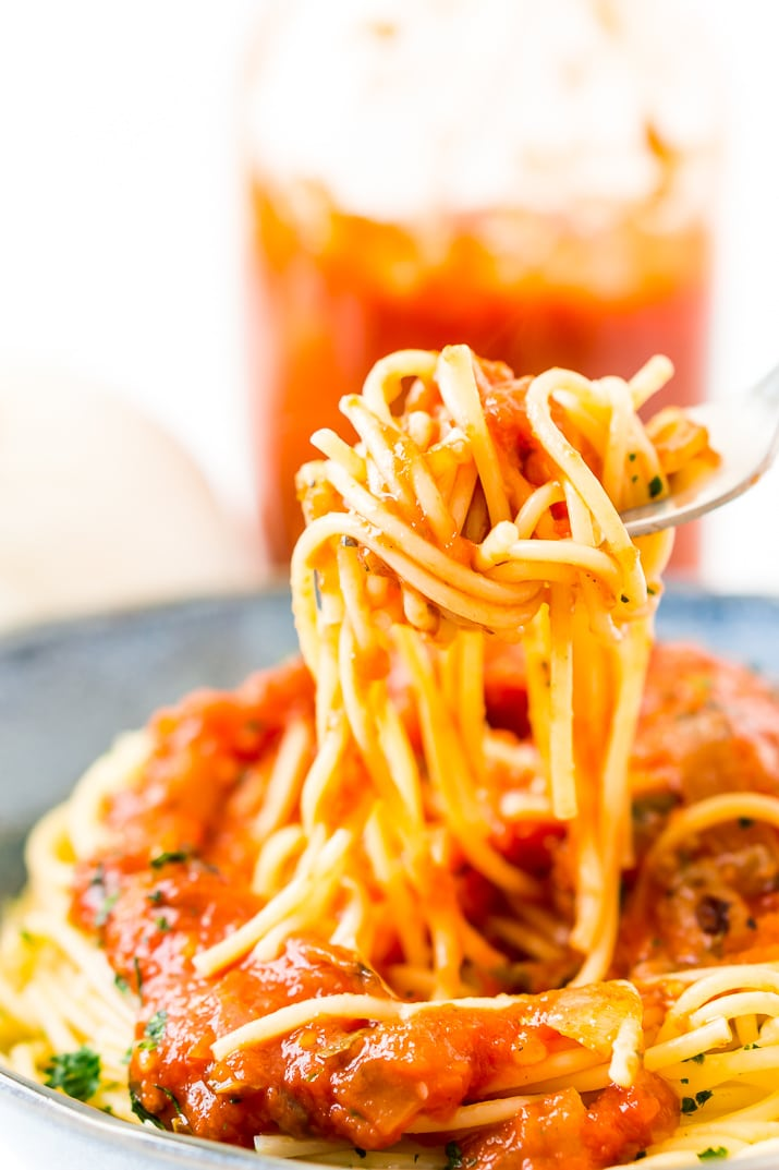 forkful of spaghetti and pomodoro sauce