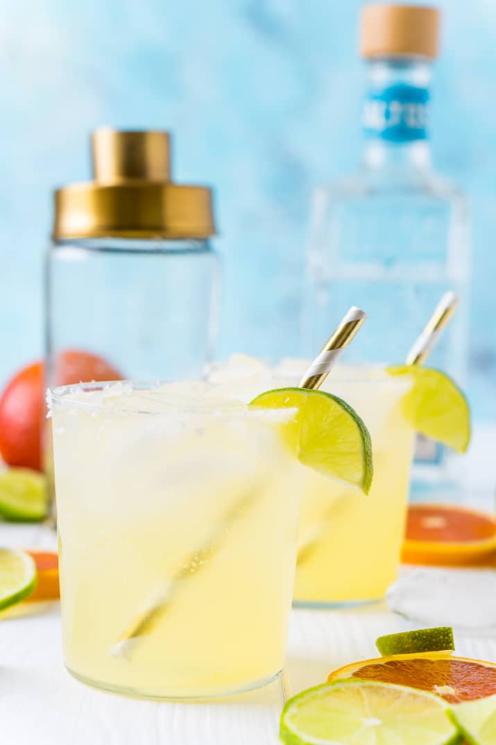 Skinny Margarita with cocktail shaker and tequila