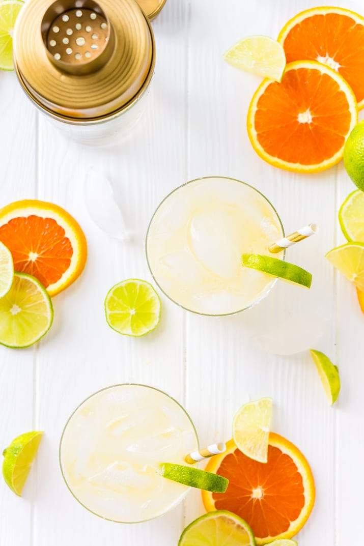 Overhead shot of skinny margarita recipe