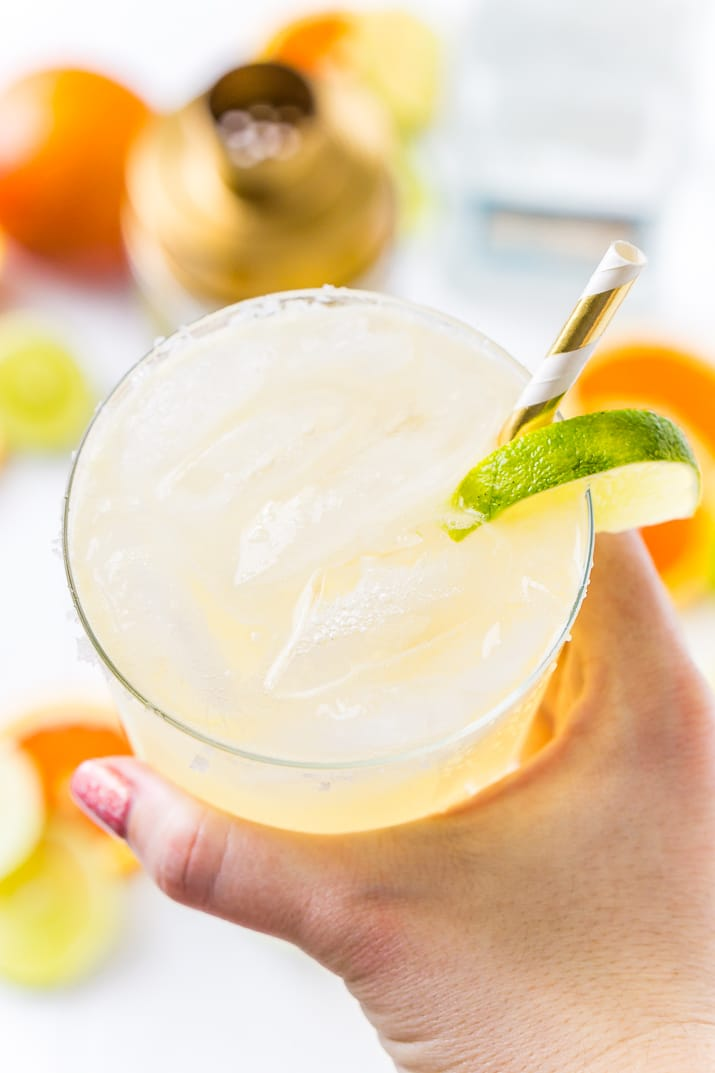 Woman holding Skinny Margarita Cocktail