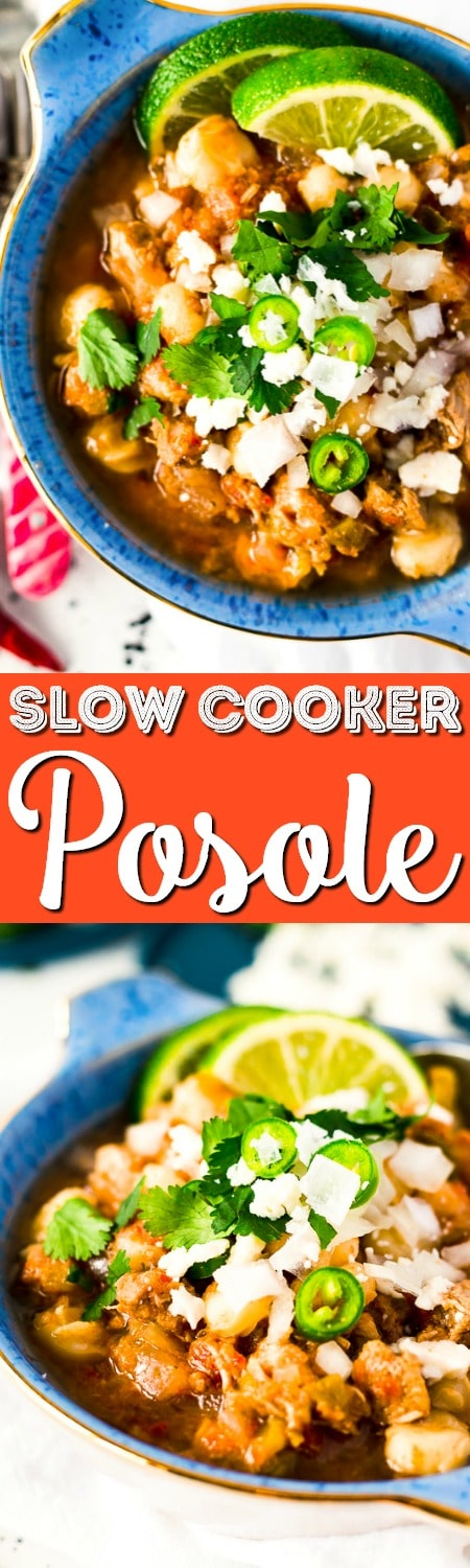 This Slow Cooker Posole (or Pozole) is a traditional Mexican stew made with hominy and pork and a flavorful broth that's super easy to make!