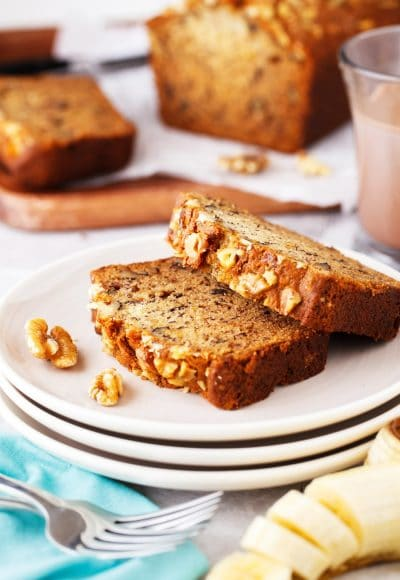 This Starbucks Copycat Banana Bread is a delicious sweet bread loaded with walnuts and delicious bananas. It's pure comfort and tastes amazing warm with a bit of butter!