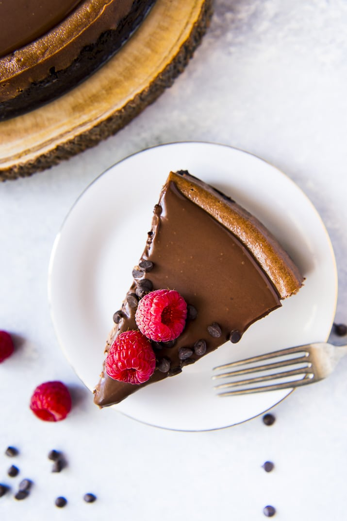 Triple Chocolate Cheesecake Recipe on white plate
