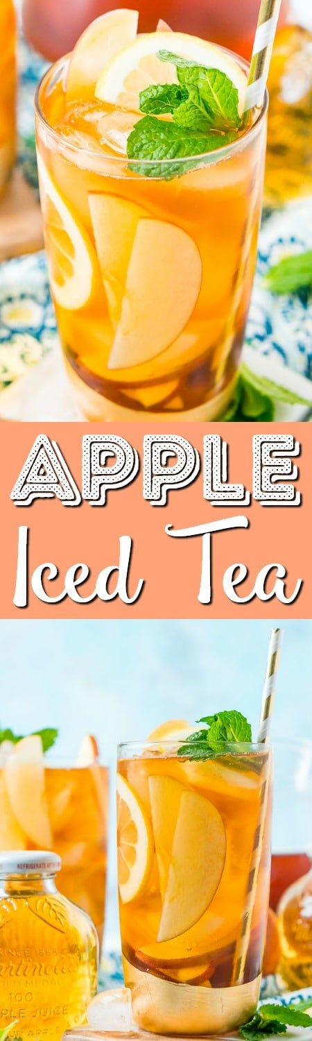 This Homemade Apple Iced Tea is made with freshly brewed black tea, sweet apple juice, fresh apple slices, and a squeeze of lemon for a refreshing summer drink that's easy to make. This flavored iced tea is naturally sweetened by the fruit juice and great for a party!