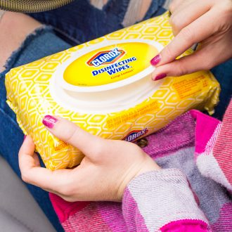 Spring Cleaning your car with Clorox Disinfecting wipes.