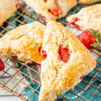 These Strawberry Scones are loaded with fresh, juicy berries and a hint of lemon zest. They're simple to make and a classic breakfast or light treat for spring and summer!