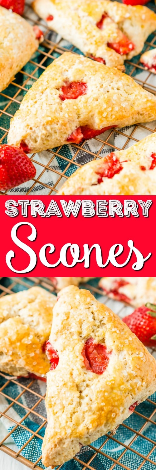 These Strawberry Scones are loaded with fresh, juicy berries and a hint of lemon zest. They're simple to make and a classic breakfast or light treat for spring and summer! via @sugarandsoulco