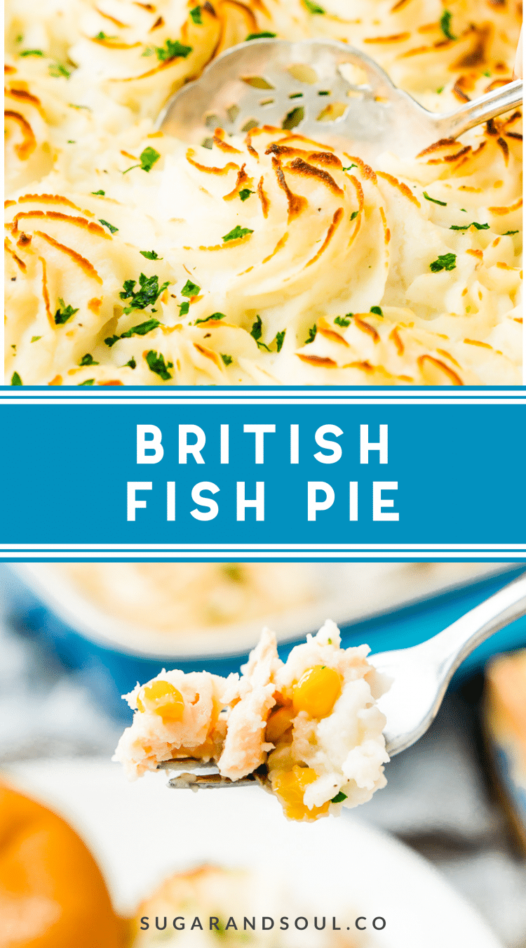 This Easy Fish Pie is inspired by the classic British dish. It's loaded with flaky salmon, tender veggies, and topped with creamy mashed potatoes for an easy dinner option!