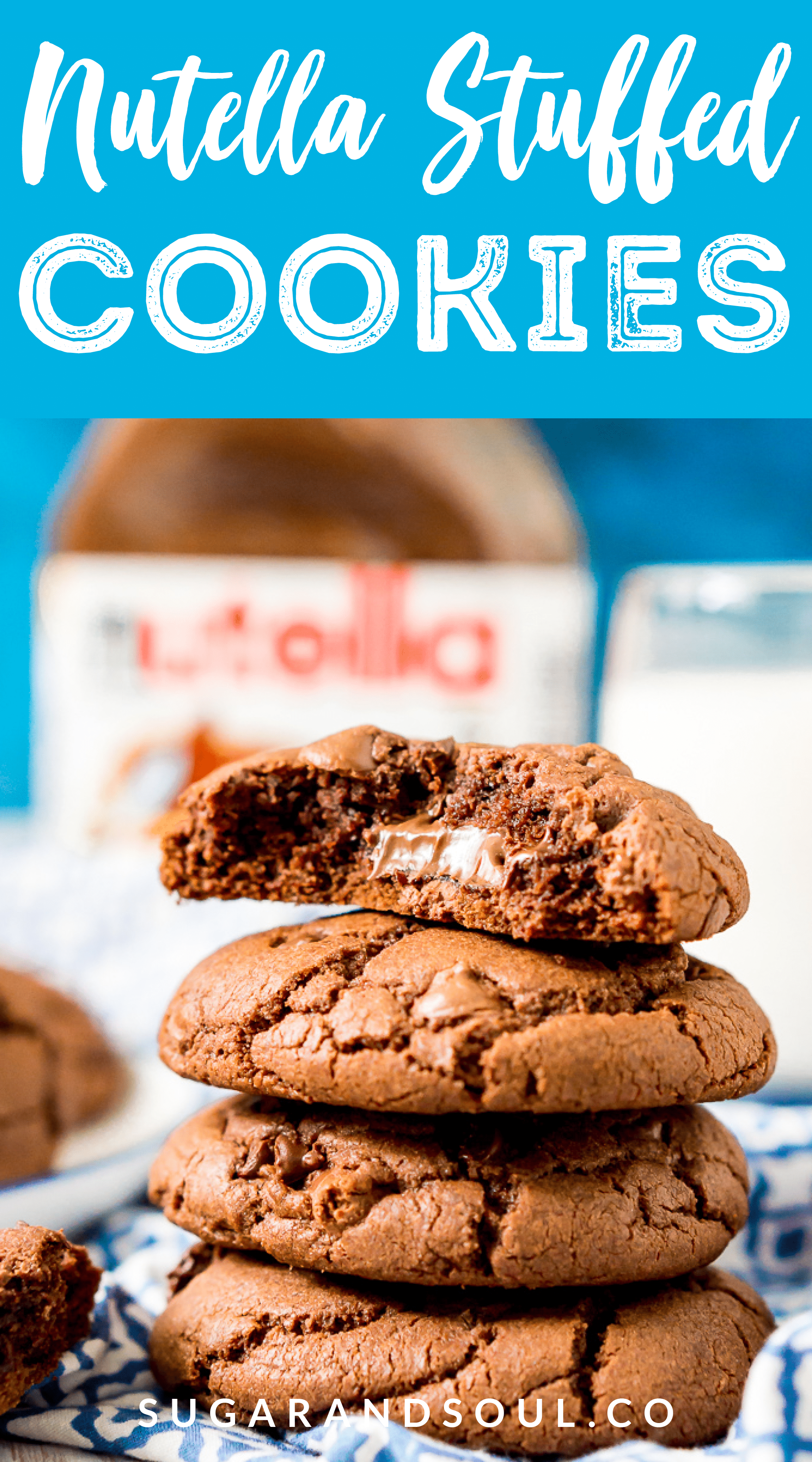 These Nutella Stuffed Cookies are a delicious double chocolate chip cookie that's laced with Nutella and stuffed with a gooey hazelnut chocolate filling. via @sugarandsoulco