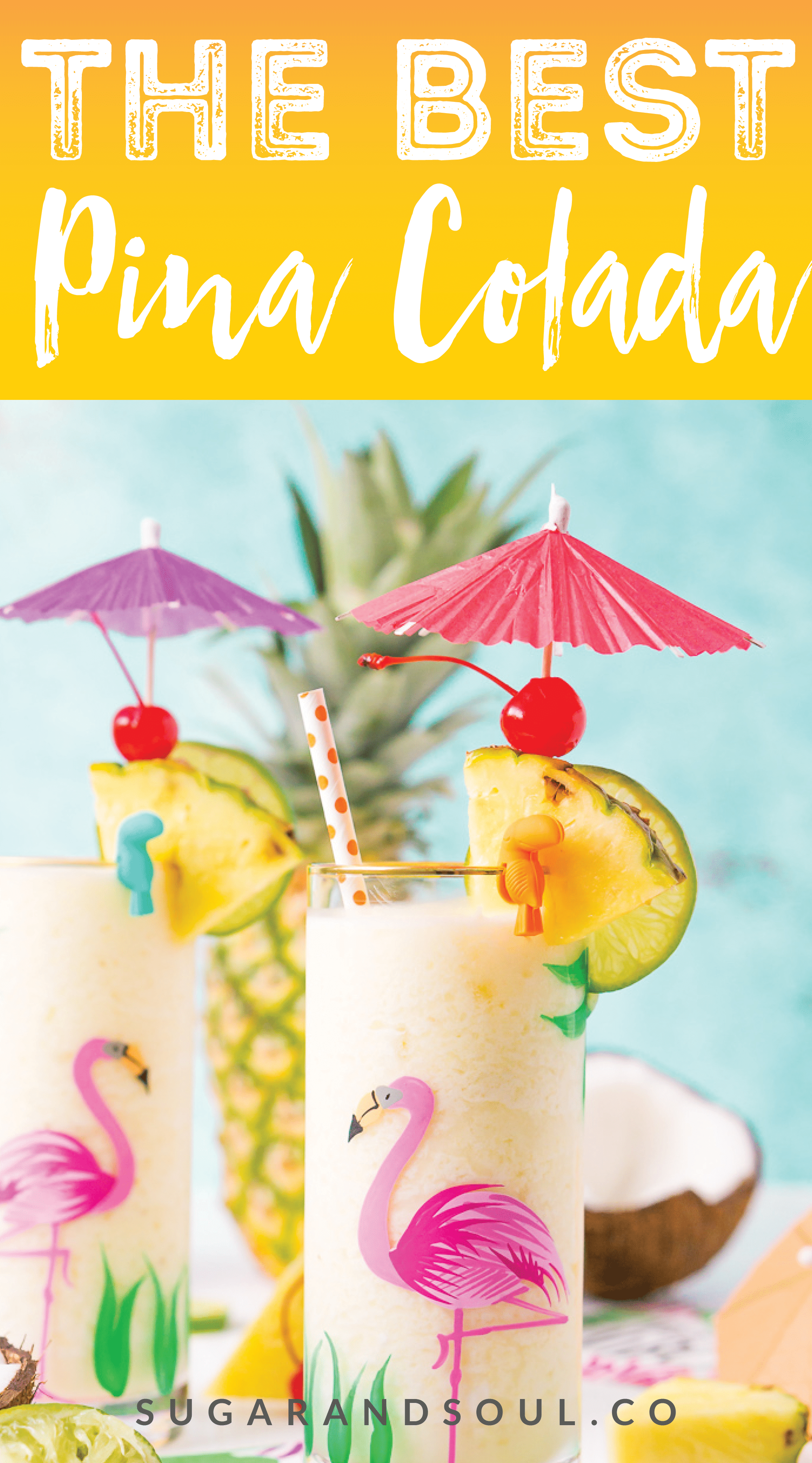 This Pina Colada recipe is a deliciously fruity and frozen drink made with creamy coconut and sweet pineapple and zesty lime juice. Add rum to make things lively or keep it virgin for the whole family to enjoy! via @sugarandsoulco