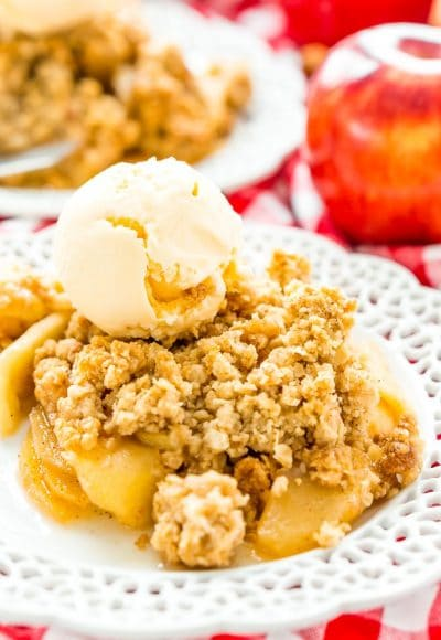 Apple Crisp is a classic dessert recipe that's perfect for summer and fall. Tender and spicy apples are topped with a sweet and crisp oatmeal topping.