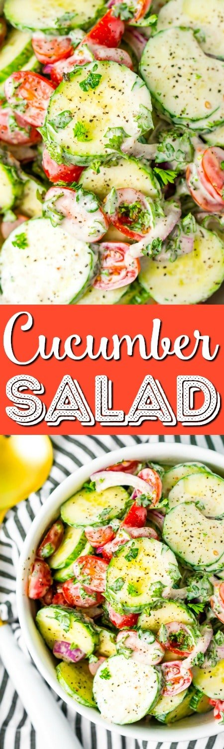 This Cucumber Tomato Salad is a simple and refreshing side dish that can be made with a creamy Italian dressing or a vinegar dressing.