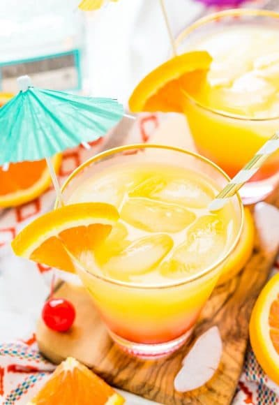 The Tequila Sunrise is an easy, classic cocktail made with zesty orange juice, refreshing tequila, and sweet grenadine. Perfect for hot summer nights and get-togethers!