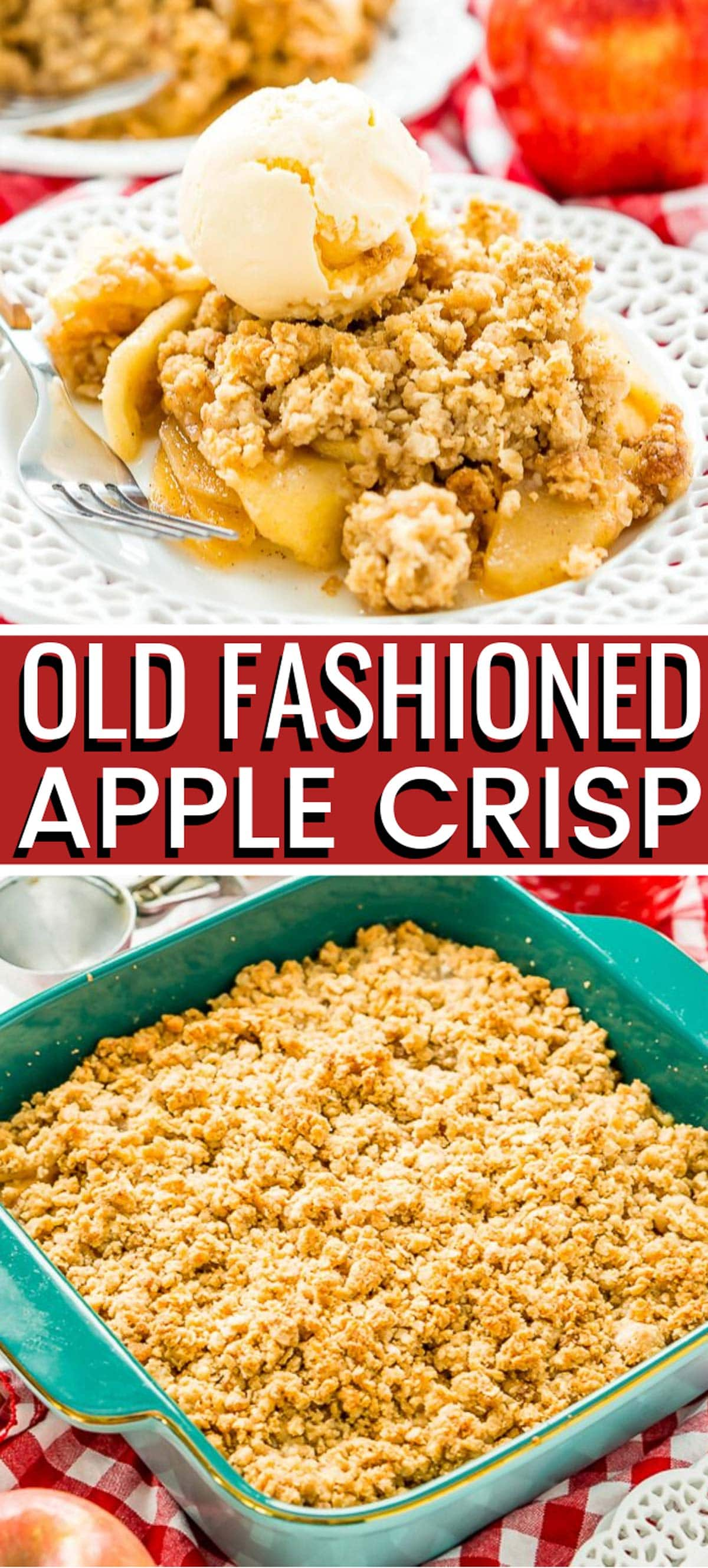 Apple Crisp is a classic dessert recipe that's perfect for summer and fall. Tender and spicy apples are topped with a sweet and hearty oat topping. via @sugarandsoulco