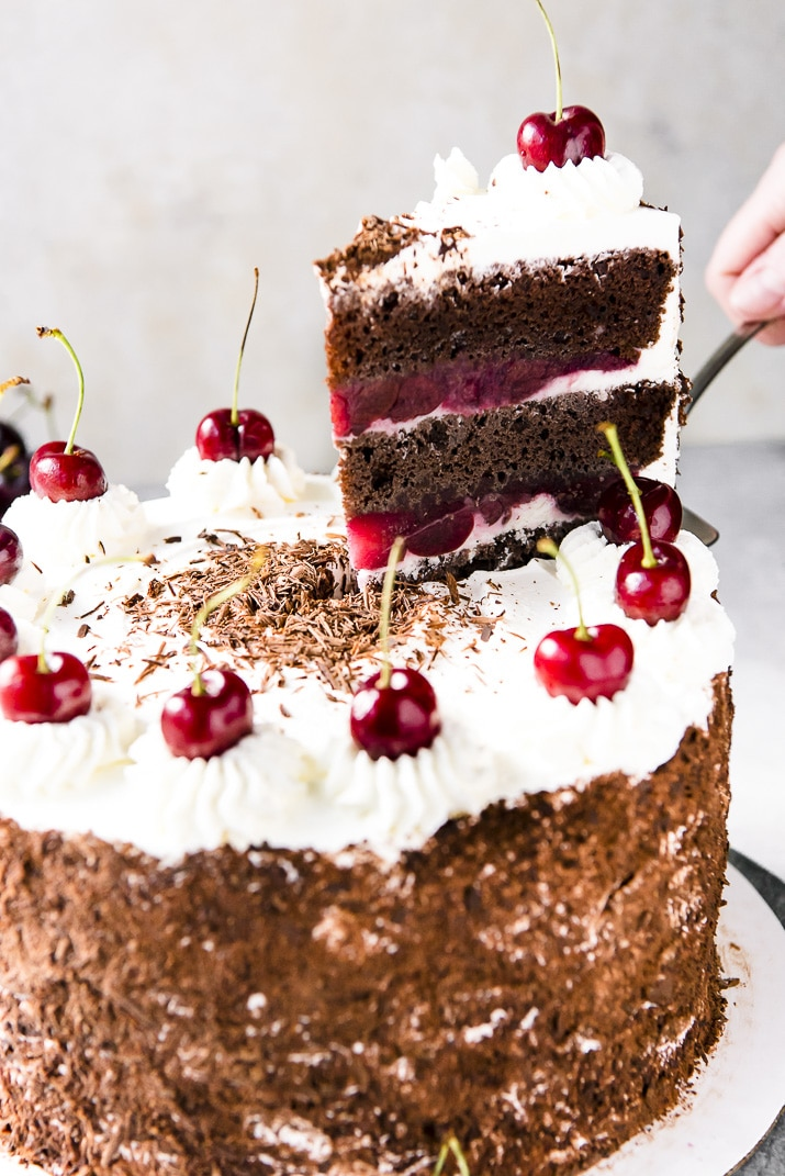 Decadent chocolate cake + boozy cherry filling + sweet whipped cream = a recipe for Black Forest Cake perfection! You're gonna love this classic German dessert!