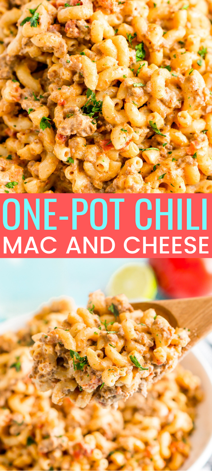 This One-Pot Chili Mac and Cheese is the perfect cheesy recipe for lazy Sundays or a weeknight dinner. It requires minimal prep and is ready in just 30 minutes and combines two of the BEST comfort foods around! via @sugarandsoulco