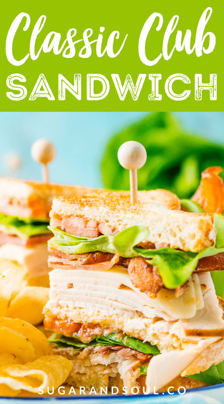 This Club Sandwich Recipe is an easy and classic sandwich made with hickory smoked turkey breast, Swiss cheese, thick-cut bacon, lettuce, tomato, and mayonnaise. It's a great lunch or light dinner recipe!