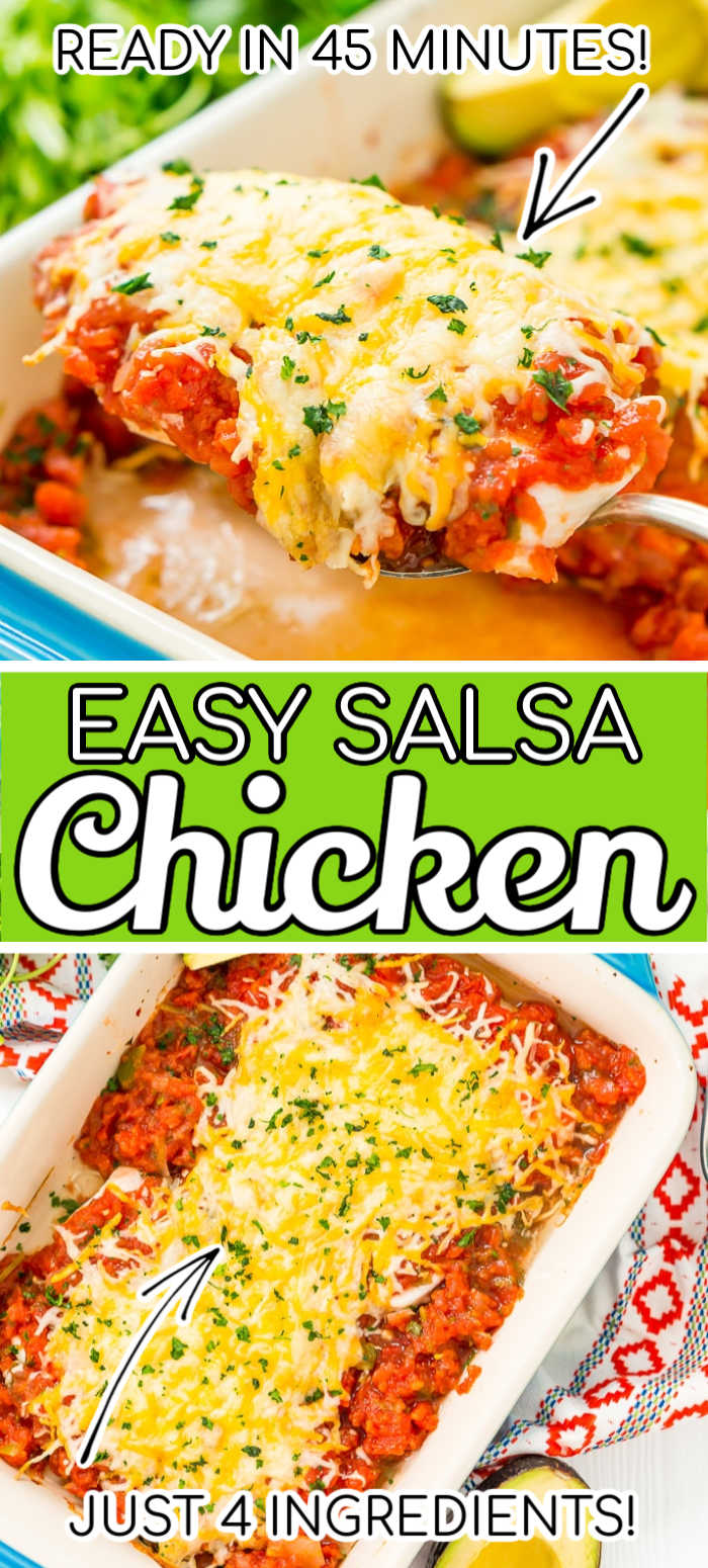 This Salsa Chicken Bake is a mouthwatering and easy dinner recipe that's made with just 4 ingredients and ready in less than 45 minutes! It's loaded with flavor and made with just chicken, taco seasoning, salsa, and cheese! via @sugarandsoulco