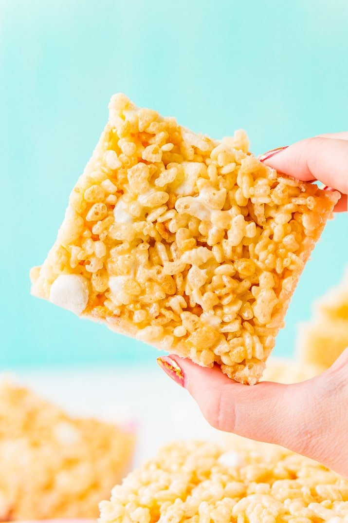 This Rice Krispies Treats recipe is loaded with salty butter, sweet marshmallow, and crunchy cereal, no one will be able to resist this easy and delicious no-bake dessert that's ready in less than 30 minutes!