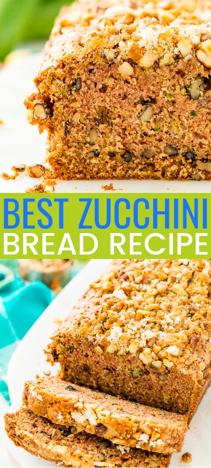his Zucchini Bread recipe is a delicious quick bread that's loaded with tender zucchini, walnuts, and cinnamon - you can add lemon or chocolate chips too! via @sugarandsoulco