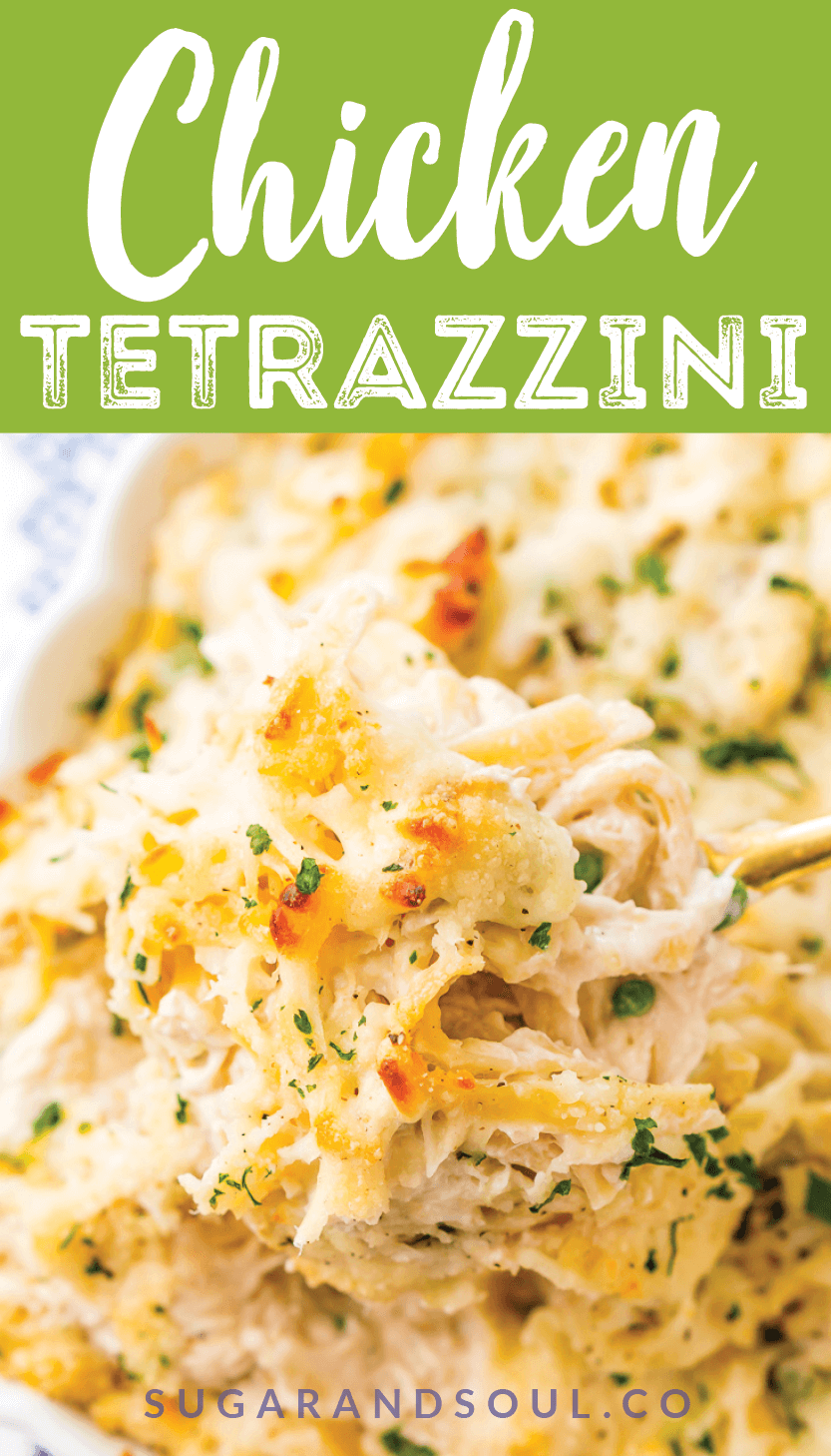 This Chicken Tetrazzini recipe is an easy, cozy, and delicious casserole dish! Fettuccine, chicken, mushrooms, and peas are baked into a creamy cheese sauce with tons of flavor! It's an instant family favorite!