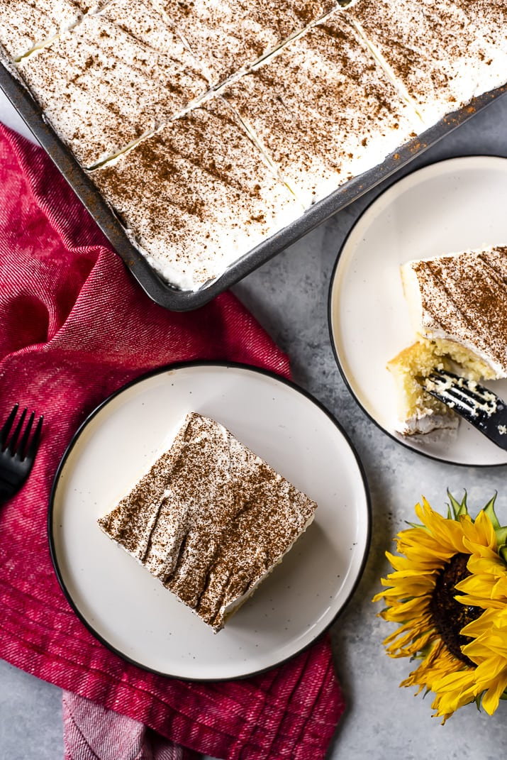 This classic Tres Leches Cake is the pride and joy of Latin America, an utterly delicious in its simplicity. A light vanilla sponge cake is soaked with a mixture of three milks, then topped with a thick layer of whipped cream and a sprinkle of cinnamon.