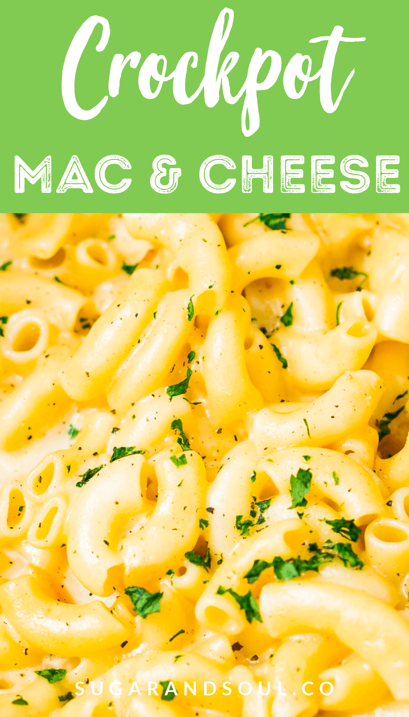 This Crock Pot Mac and Cheese is an easy and delicious dinner loaded with cheddar and Colby Jack cheeses and perfect for a weeknight meal or cozy weekend dinner!