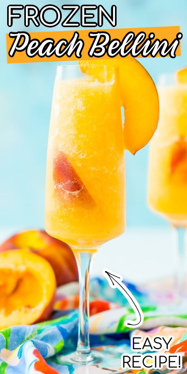 This Peach Bellini Slushies recipe is a frozen take on the classic brunch cocktail! Made in the blender with just 4 ingredients, this easy champagne cocktail is a refreshingly boozy beverage to enjoy all summer.  via @sugarandsoulco