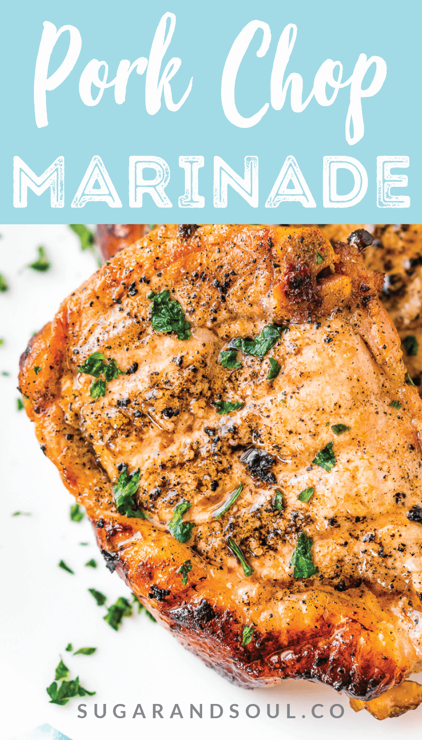 This Pork Chop Marinade makes meat juicy, tender, and super flavorful. Made with apple cider vinegar, olive oil, garlic powder, ground mustard, coriander, sea salt, brown sugar and honey, you can whip it up for summer cookouts or weeknight dinners.