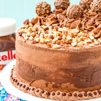 This Nutella Cake is a rich and indulgent dessert highlighting the delicious blend of chocolate and hazelnut! A moist chocolate cake coated in a decadent Nutella frosting and topped with Ferrero Rocher candy and chopped hazelnuts.