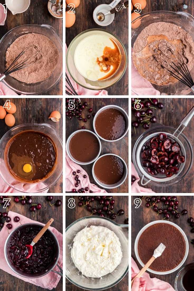 Step-by-step photo collage showing how to make black forest cake from scratch.