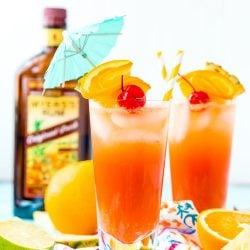 Planter's Punch is a fruity cocktail that's spiked with rum. Made with orange and pineapple juices, a splash of lime, grenadine, and dark or spiced rum, this tropical mixed drink is dangerously delicious!