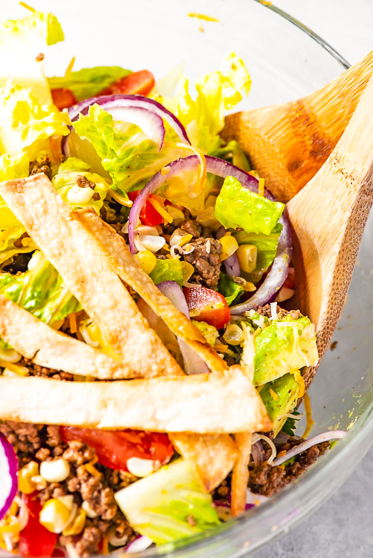 Taco Salad is the easiest way to rock Taco Tuesday like a pro! It's loaded with fresh veggies, cheese, and seasoned meat with crunchy tortilla strips! Whether you're meal-prepping or looking for a quick weekday dinner, this recipe is a real crowd pleaser.