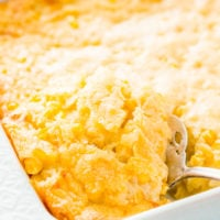 Cheesy Corn Casserole is an easy, no-effort side dish made with just 6 ingredients and ready for the oven in just 5 minutes! It's an instant family favorite during the holidays!