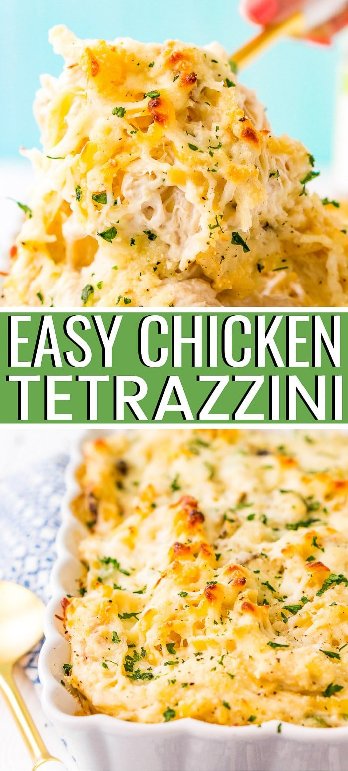 Chicken Tetrazzini recipe is an easy, cozy, and delicious casserole dish! Fettuccine, chicken, mushrooms, and peas are baked into a creamy cheese sauce with tons of flavor! It's an instant family favorite! via @sugarandsoulco