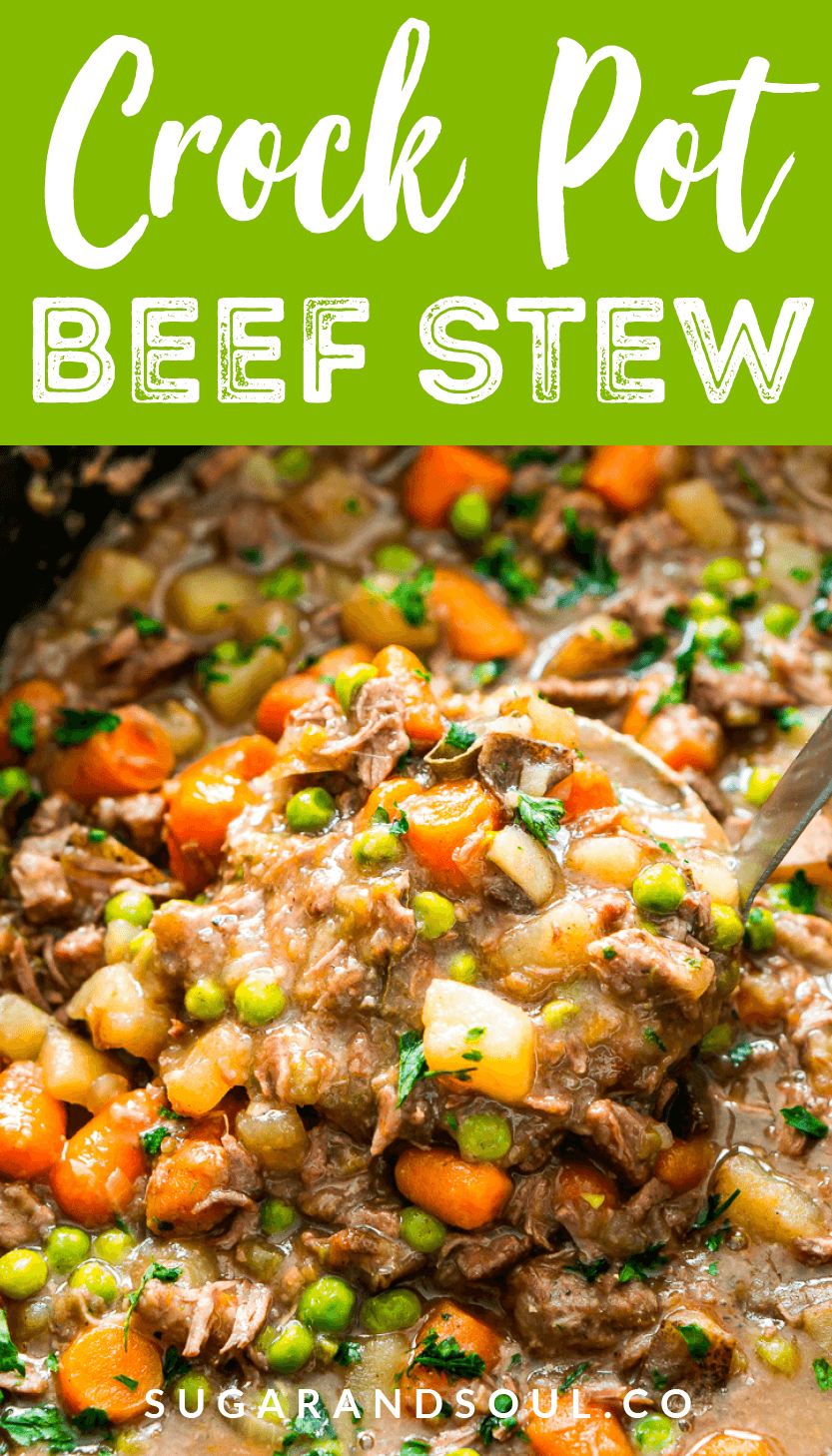 Crock Pot Beef Stew is filled with tender chunks of beef, carrots, peas, potatoes, celery, and savory spices, it's a wholesome family favorite that'll keep everyone warm as the weather gets cooler! via @sugarandsoulco