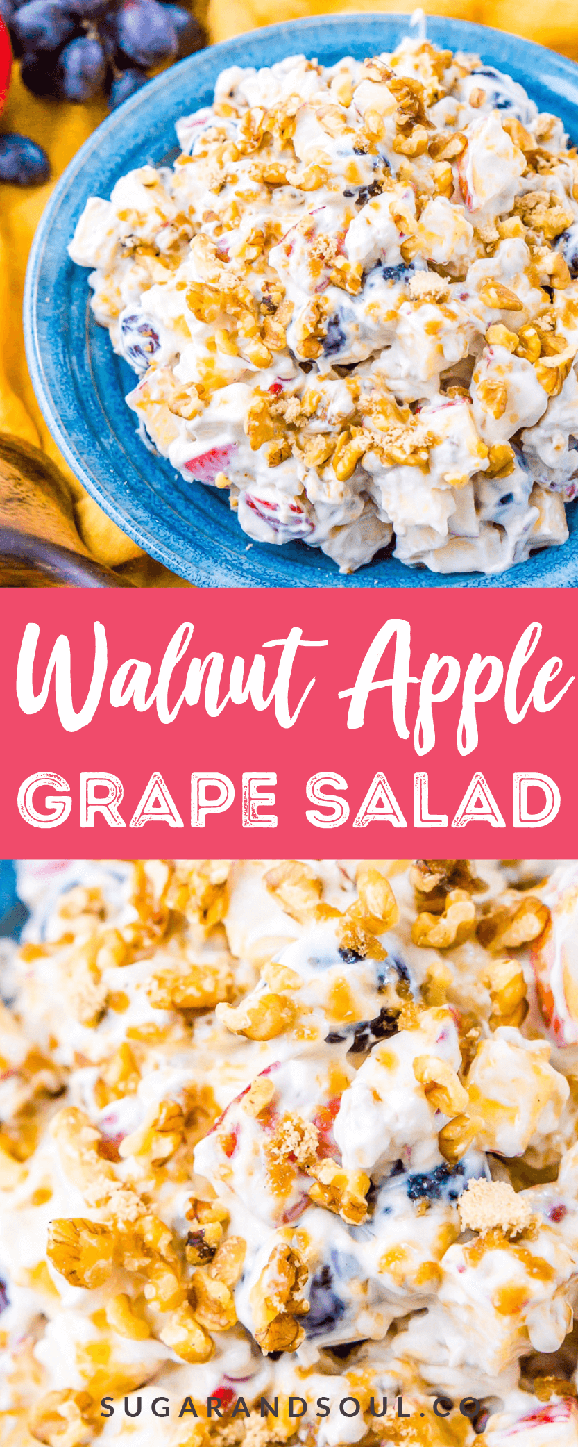 This Apple Grape Salad is a vintage dessert salad made with cream cheese, yogurt, apples, grapes, walnuts, and sugar! It's a potluck favorite and everyone will want the recipe!