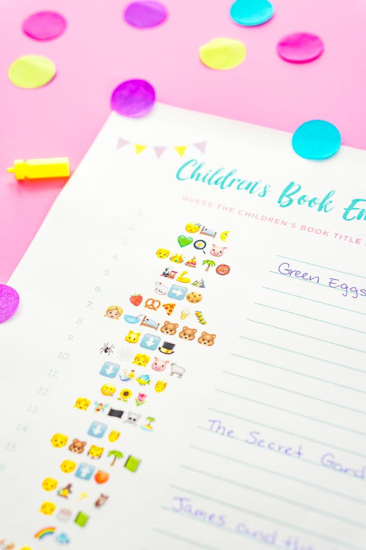 this free emoji pictionary baby shower game printable uses emoji images to guess the name of