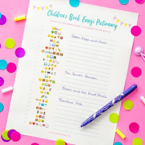 Children's Book Emoji Pictionary Baby Shower Game Printable