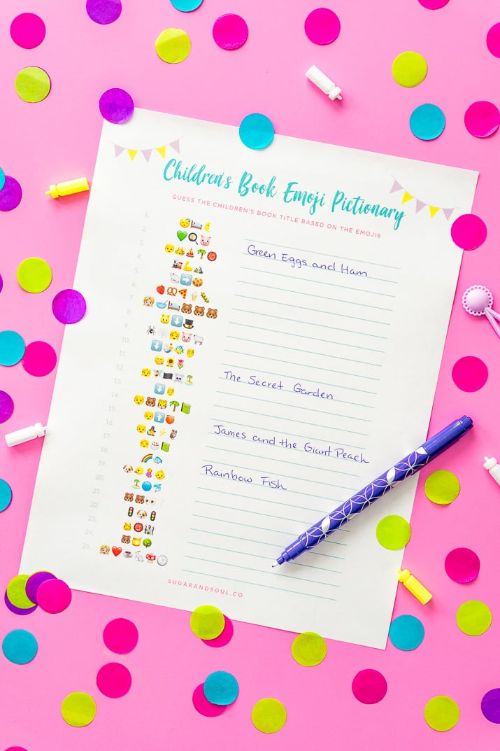 This FREE Emoji Pictionary Baby Shower Game Printable uses emoji images to guess the name of each book! It's a fun and new game idea everyone will love playing!