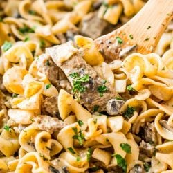 Beef Stroganoff is a delicious dinner recipe made with tender ribeye steak sautéed in a buttery mushroom and sour cream sauce and served over egg noodles.