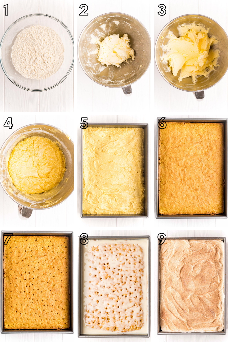Step by step photo collage showing how to make tres leches cake.