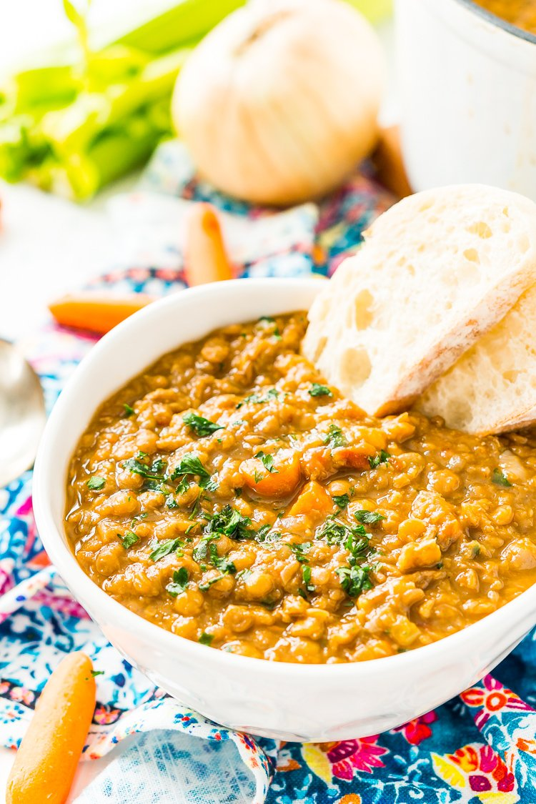 Lentil Soup is easy to make, wholesome -- and vegan! Made with a blend of savory vegetables and fragrant spices, it only takes one pot and a little prep to serve up this comforting meal.