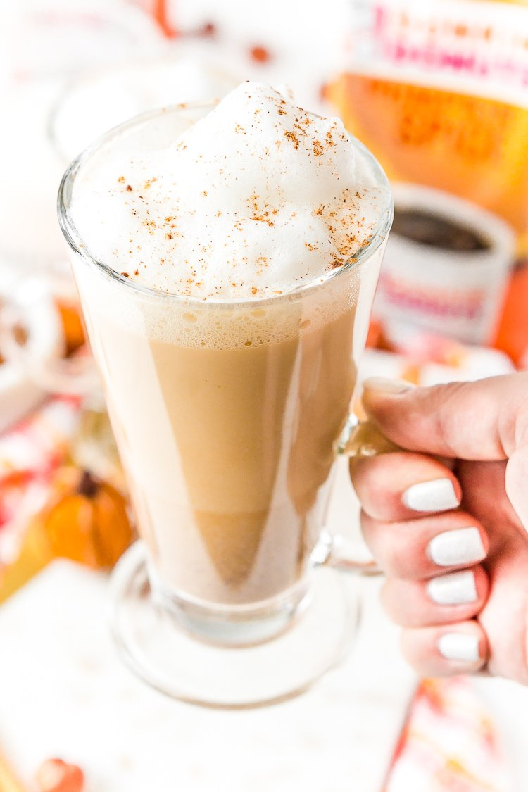 Pumpkin Spice Latte is easy to make at home and loaded with the spicy fall flavors of pumpkin, cinnamon, nutmeg, cloves, and rich bold coffee and frothy milk!